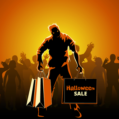 Halloween sale poster with crowds of zombies on orange background