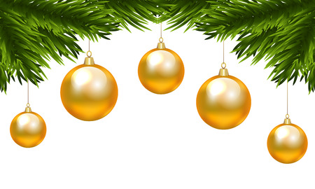 branch isolated: Christmas decorative element for border with fir tree branch and Christmas yellow baubles isolated on white