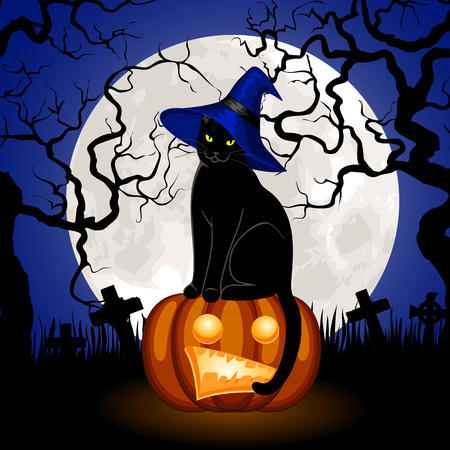 Halloween pumpkin Jack O Lantern and black cat on cemetery