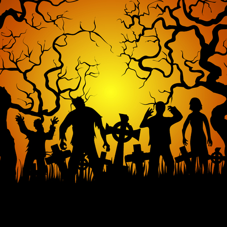 walking corpse: Crowds of zombies on cemetery on orange background. Halloween card