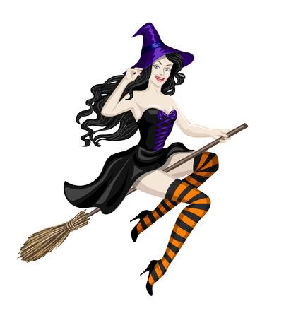 brujas sexis: Bella bruja volando en escoba. Ilustración de la mujer atractiva en traje de Halloween aislado en blanco. personaje de Halloween