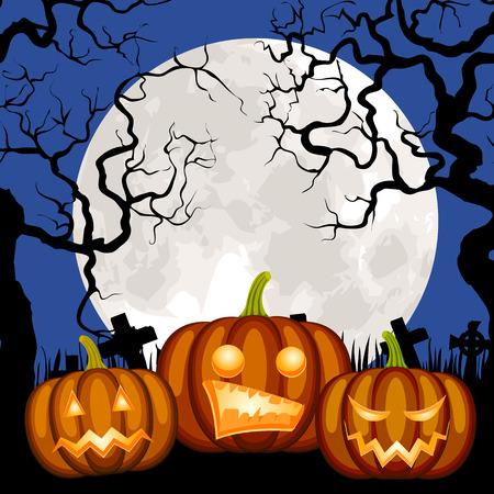 jack o' lantern: Halloween pumpkins Jack o Lantern on cemetery