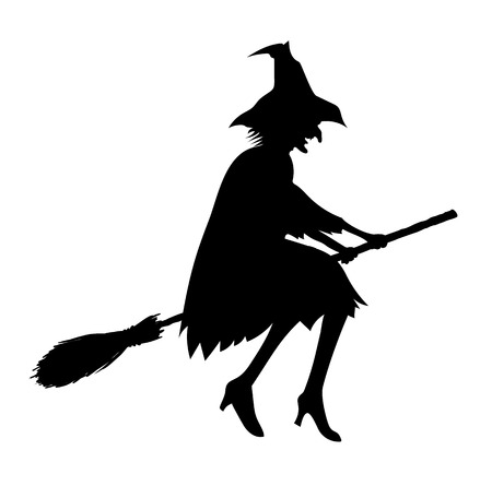 wicked woman: Black silhouette of old ugly witch isolated on white for Halloween design Illustration