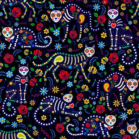 Bezszwowy wzór z calavera kotami i cukrowymi umiejętnościami dla dnia nieboszczyka, Dia De Los Muertos