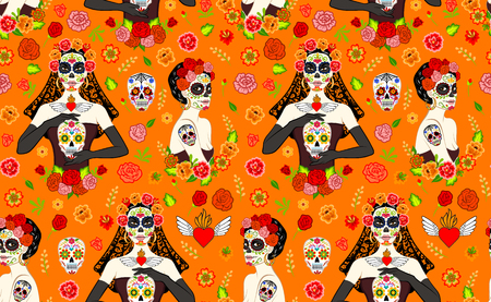 Seamless pattern with mexican beautiful women with Dia Los Muertos make-up and sugar skull Illustration