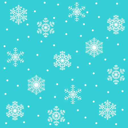 Christmas seamless pattern with white snowflakes on turquoise background