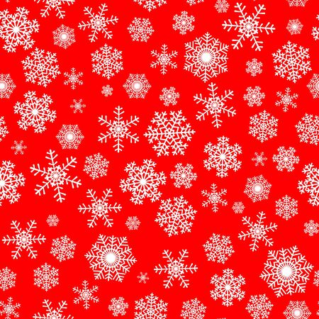 christmas snowflakes: Christmas seamless pattern with white snowflakes on red background
