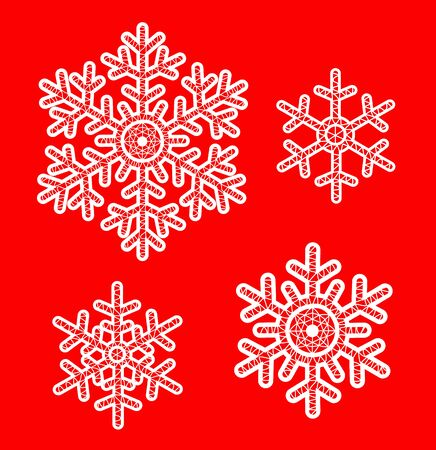 decoration elements: White lace snowflakes on red background. Elements for Christmas decoration Illustration