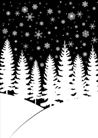 fir trees: Christmas card with fir trees forest and snowfall on dark blue background