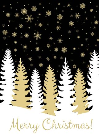 fir trees: Christmas card with fir trees forest and snowfall on black background Illustration