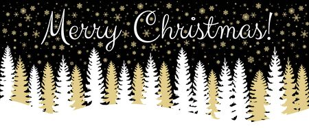 fir trees: Christmas horizontal banner with fir trees forest and snowfall on black background Illustration