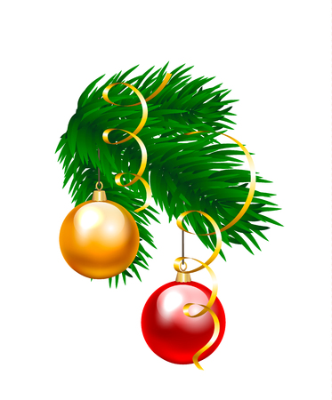 red christmas ball: Christmas baubles and fir branch isolated on white Illustration