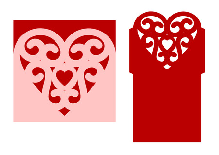 Wedding envelope template with heart for laser cutting