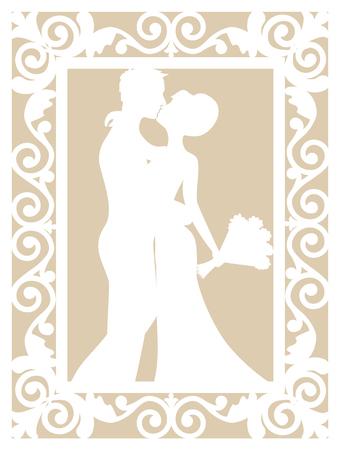corte laser: plantilla de la cesta de la boda con el novio y la novia de corte por láser