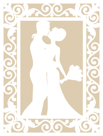 laser cutting: Wedding cart template with groom and bride for laser cutting Illustration