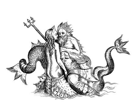 neptuno: Bosquejo a mano de la sirena y Neptuno aislados en blanco