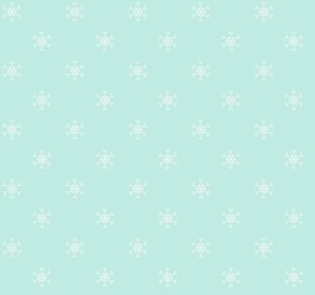 Christmas seamless pattern with white snowflakes on green background Illustration