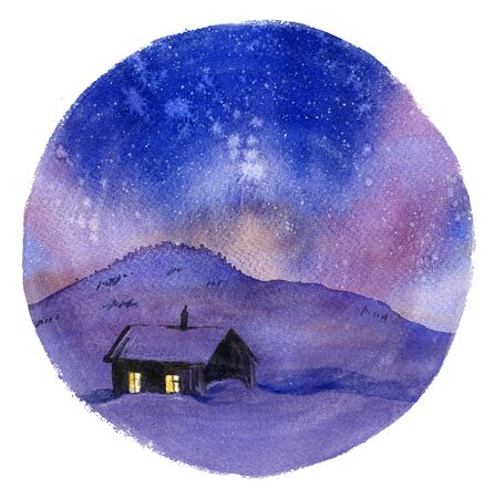 lapland: Winter cottage in night hand drawn with watercolor Stock Photo