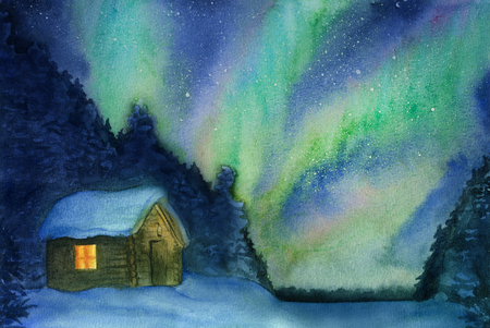 Northern lights, snow and cottage hand-drawn with watercolor