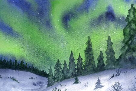 northern: Northern lights, snow and forest hand-drawn with watercolor