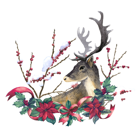 Reindeer and christmas decoration hand drawn with watercolor