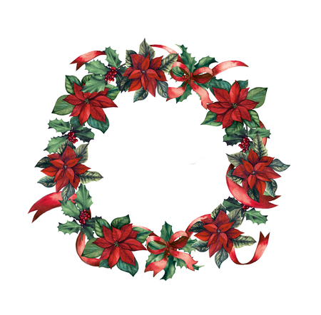 Christmas wreath with berries and poinsettia flowers hand-drawn with waatercolor Stock Photo