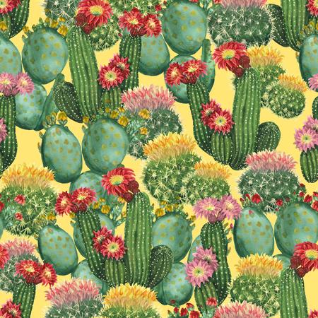 Watercolor cactus background