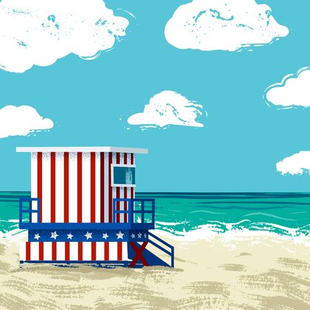 South Beach in Miami Illustration