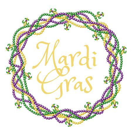 Mardi gras groeten in kralen frame geïsoleerd op wit