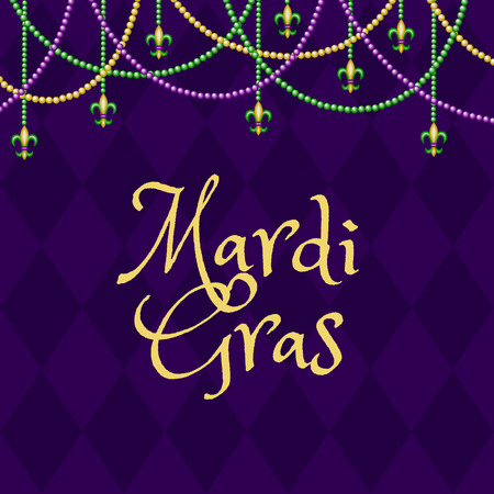 beads: Mardi gras purple background with colorful beads