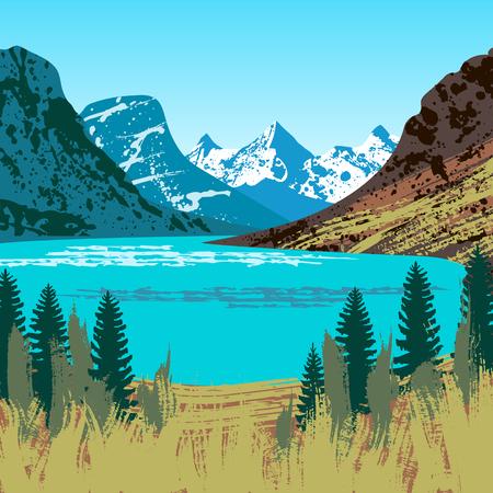 Illustration of Glacier National Park Illustration