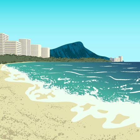 beach panorama: Illustration of Waikiki beach