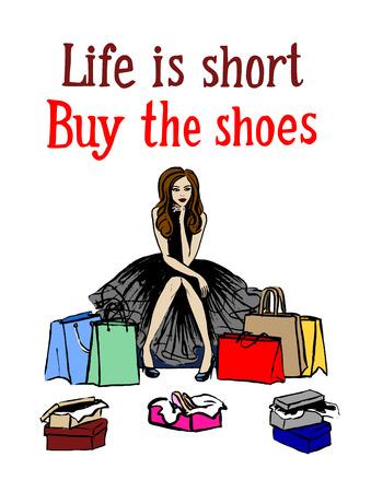trying: Woman choosing shoes