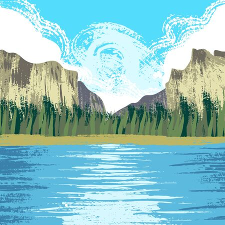 Yosemite National Park Ilustrace
