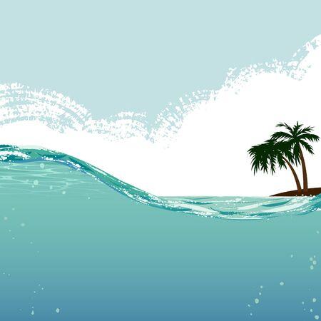 half: palm and underwater Stock Photo