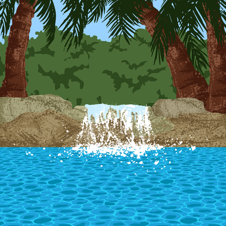 inground: pool and garden with palms