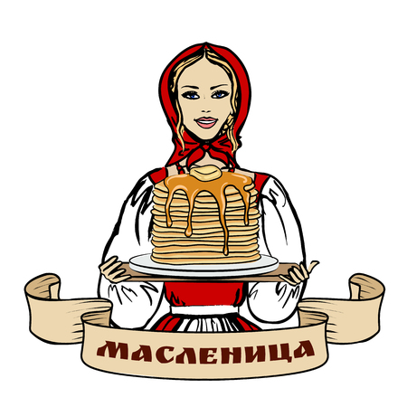 lady in red: woman with pancakes Illustration