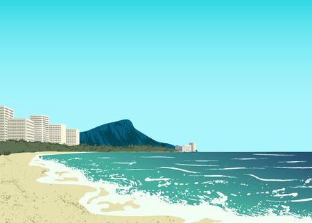spiaggia: spiaggia di Waikiki dell'isola di Oahu