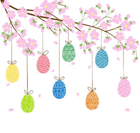 arbol de pascua: huevos en árbol floreciente primavera Vectores