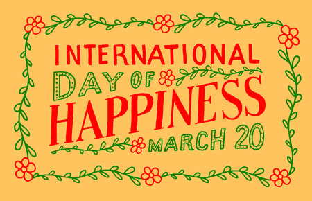 red happiness: International Day of Happiness Illustration