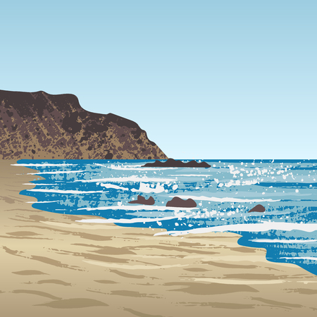 Ocean coast with rock Illustration
