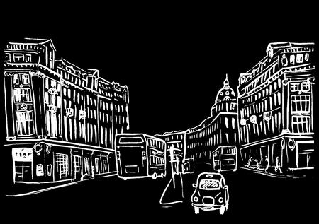 regent: sketch of Regent Street Illustration