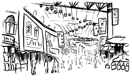 shopping malls: sketch of Chinatown Illustration