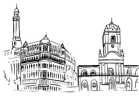Sketch of Plaza de Mayo  イラスト・ベクター素材