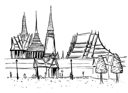 thai buddha: Old City of Bangkok Illustration