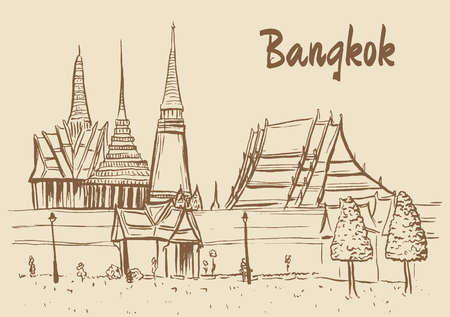 history architecture: Hand-drawn sketch of Grand Palace & Wat Prakeaw, Old City of Bangkok, Thailand