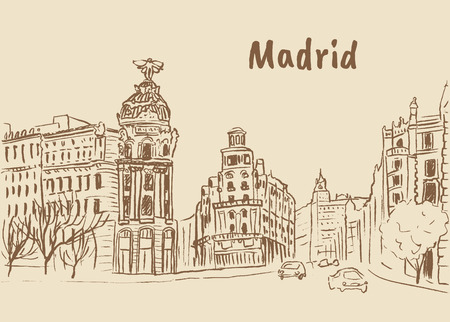 Madrid, hoofdstad van Spanje Stock Illustratie