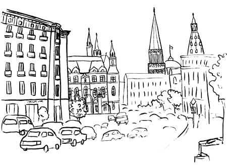 old square: Tverskaya street in Moscow.