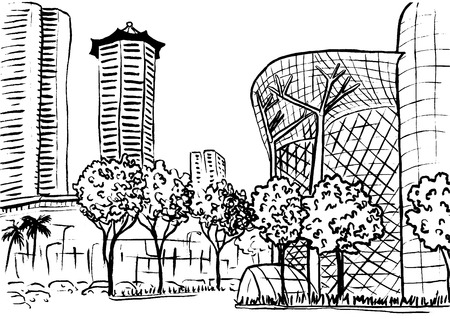 shopping malls: Orchard Road in Singapore. Illustration