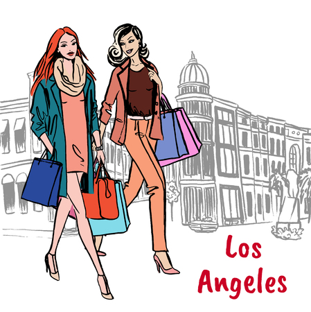 women with shopping bags Illustration